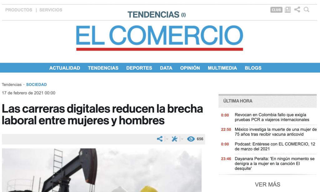 Periódico El Comercio: Las carreras digitales reducen la brecha laboral entre mujeres y hombres